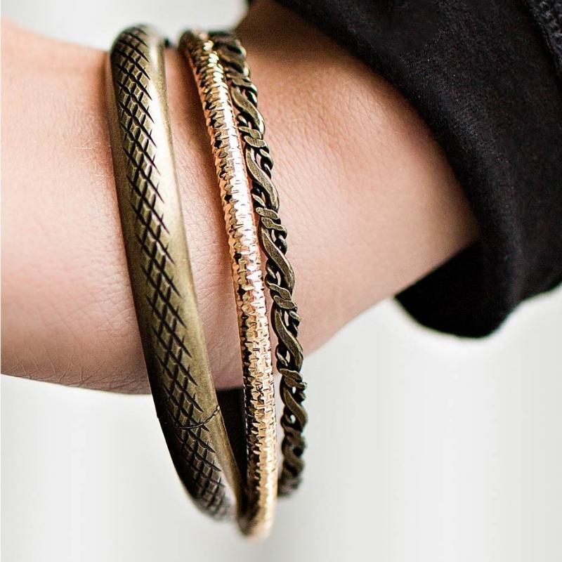 Wicked Wonders VIP Bling Bracelet Carnivore Brass and Gold Set of Bangle Bracelets Affordable Bling_Bling Fashion Paparazzi
