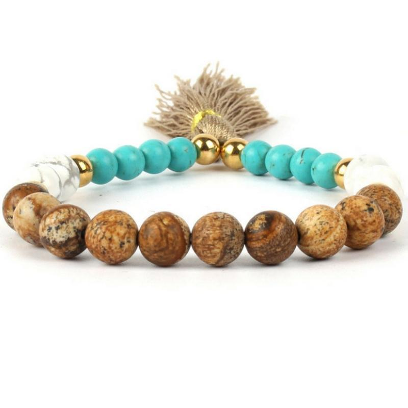Wicked Wonders VIP Bling Bracelet Chakra De Tassel Multi Brown-Blue Bracelet Affordable Bling_Bling Fashion Paparazzi