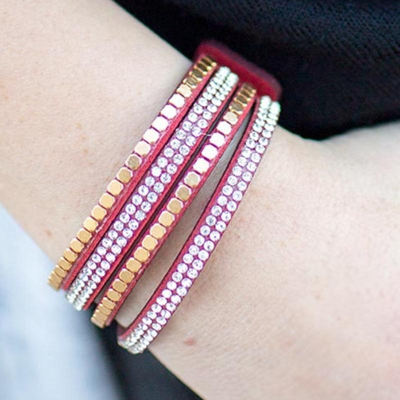 Wicked Wonders VIP Bling Bracelet Comin' In Hot Red Snap Closure Bracelet Affordable Bling_Bling Fashion Paparazzi