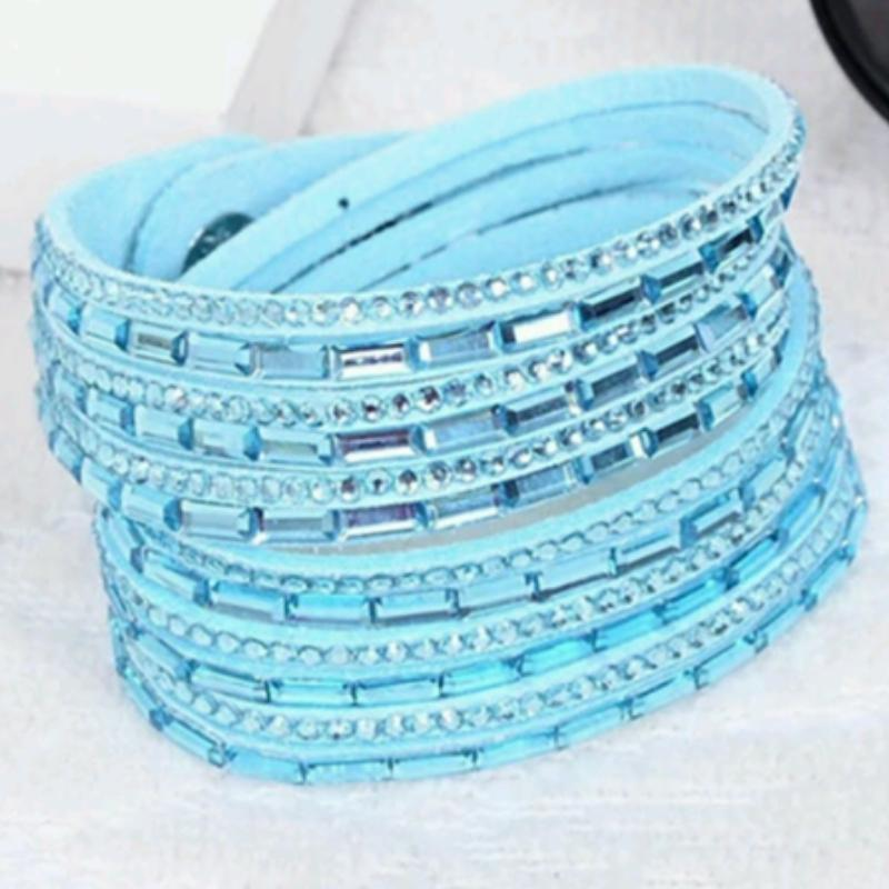 Wicked Wonders VIP Bling Bracelet Crystal Explosion Aqua Snap Wrap Bracelet (or Choker Necklace) Affordable Bling_Bling Fashion Paparazzi