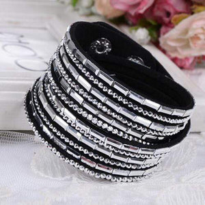 Wicked Wonders VIP Bling Bracelet Crystal Explosion Black with Silver Silver Snap Wrap Bracelet (or Choker Necklace) Affordable Bling_Bling Fashion Paparazzi