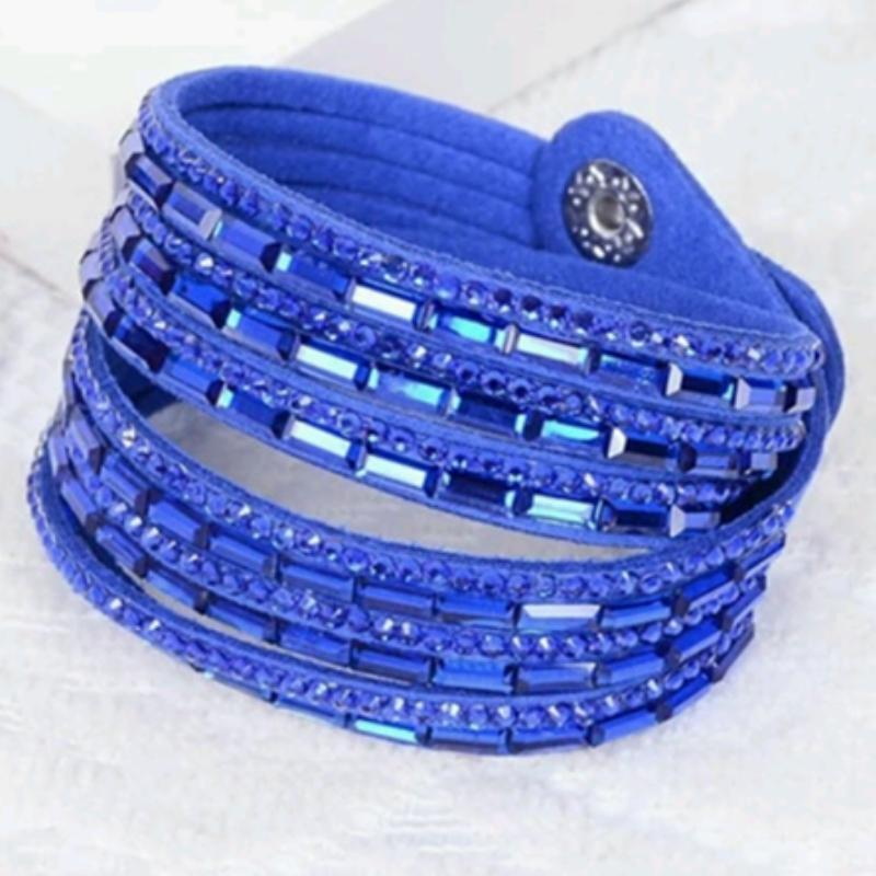 Wicked Wonders VIP Bling Bracelet Crystal Explosion Bright Royal Blue Snap Wrap Bracelet (or Choker Necklace) Affordable Bling_Bling Fashion Paparazzi