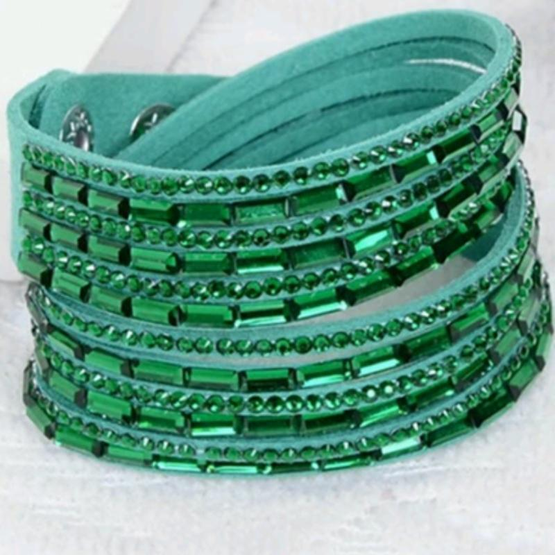 Wicked Wonders VIP Bling Bracelet Crystal Explosion Green Snap Wrap Bracelet (or Choker Necklace) Affordable Bling_Bling Fashion Paparazzi