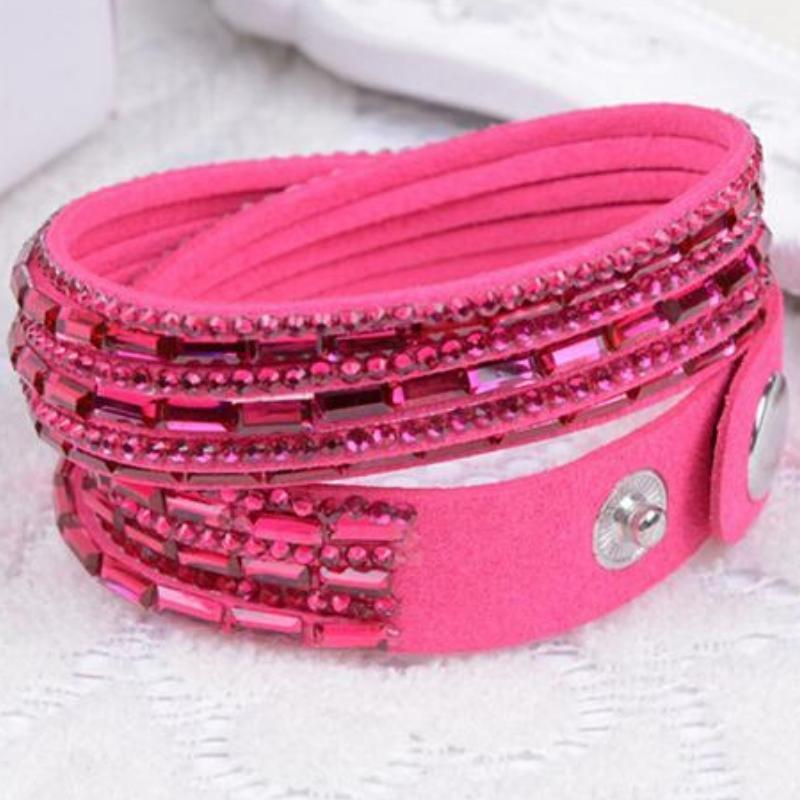 Wicked Wonders VIP Bling Bracelet Crystal Explosion Hot Pink Snap Wrap Bracelet (or Choker Necklace) Affordable Bling_Bling Fashion Paparazzi