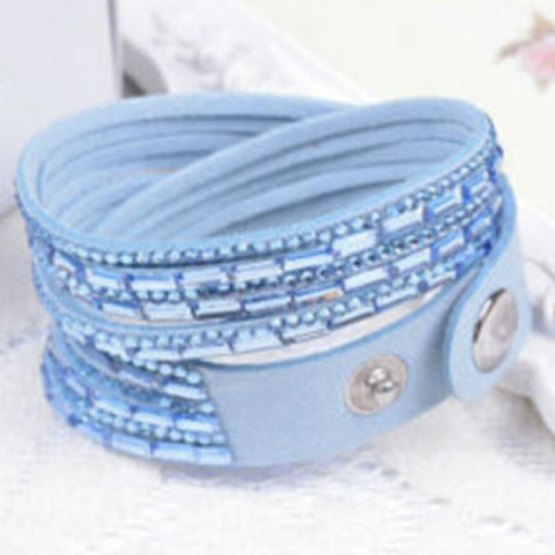 Wicked Wonders VIP Bling Bracelet Crystal Explosion Light Blue Snap Wrap Bracelet (or Choker Necklace) Affordable Bling_Bling Fashion Paparazzi