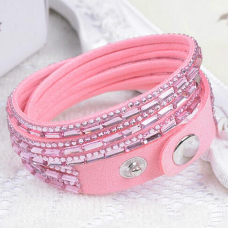 Wicked Wonders VIP Bling Bracelet Crystal Explosion Light Pink Snap Wrap Bracelet (or Choker Necklace) Affordable Bling_Bling Fashion Paparazzi