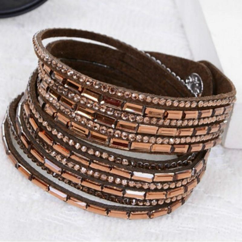 Wicked Wonders VIP Bling Bracelet Crystal Explosion Mocha Brown Snap Wrap Bracelet (or Choker Necklace) Affordable Bling_Bling Fashion Paparazzi