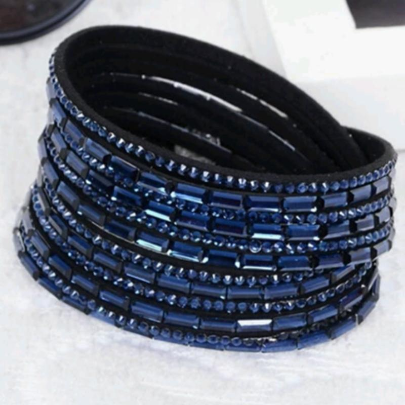 Wicked Wonders VIP Bling Bracelet Crystal Explosion Navy Snap Wrap Bracelet (or Choker Necklace) Affordable Bling_Bling Fashion Paparazzi