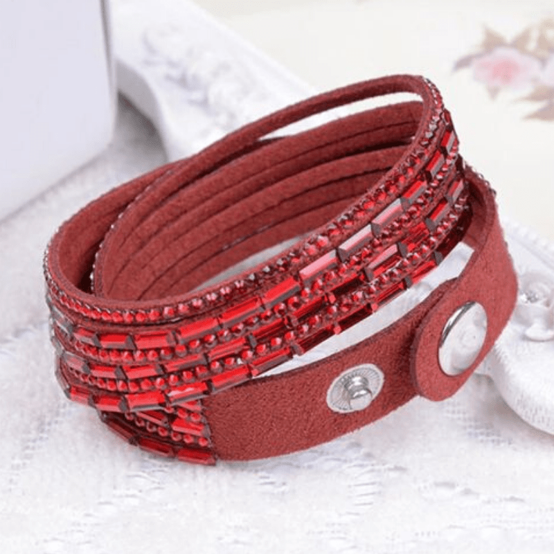Wicked Wonders VIP Bling Bracelet Crystal Explosion Red Snap Wrap Bracelet (or Choker Necklace) Affordable Bling_Bling Fashion Paparazzi