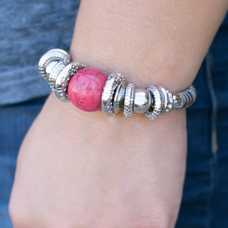 Wicked Wonders VIP Bling Bracelet Do As the Romans Do Pink Stretchy Bracelet Affordable Bling_Bling Fashion Paparazzi