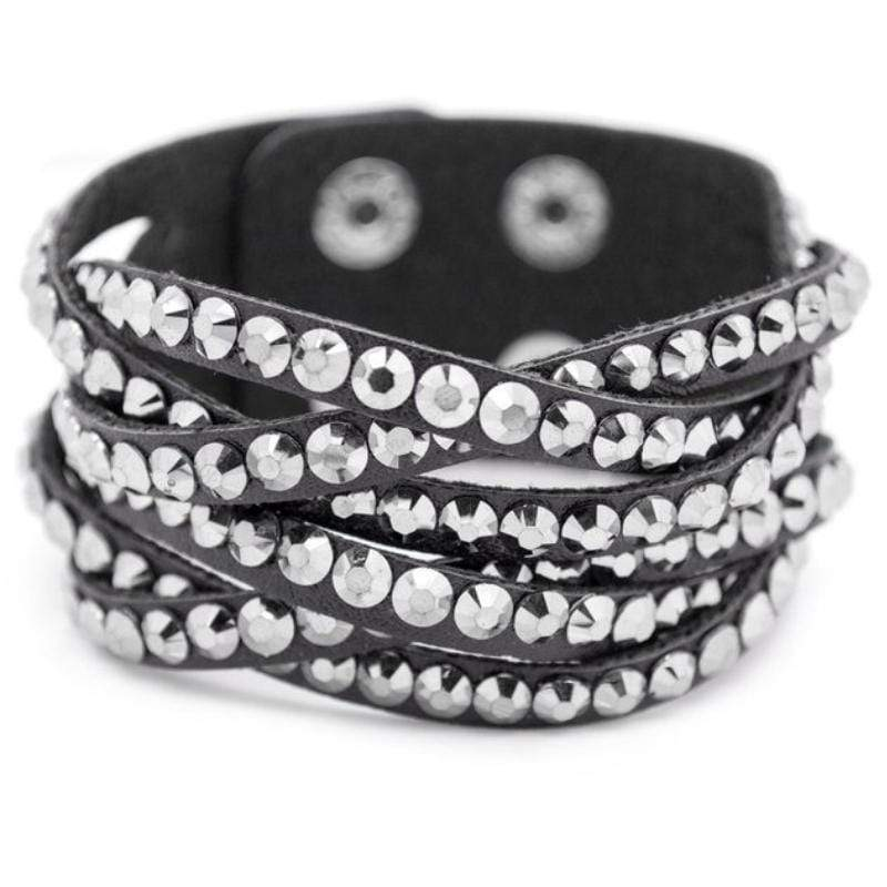 Wicked Wonders VIP Bling Bracelet Double Take Black Snap Closure Bracelet Affordable Bling_Bling Fashion Paparazzi
