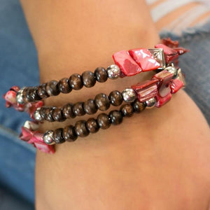 Wicked Wonders VIP Bling Bracelet Downward Spiral Red Wrap Bracelet Affordable Bling_Bling Fashion Paparazzi