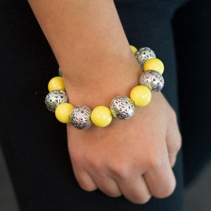 Wicked Wonders VIP Bling Bracelet Drops of Jupiter Yellow Stretchy Bracelet Affordable Bling_Bling Fashion Paparazzi