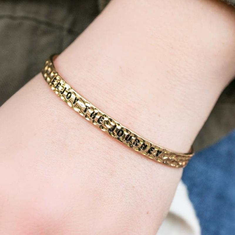 Wicked Wonders VIP Bling Bracelet Enjoy the Journey Gold Skinny Cuff Bracelet Affordable Bling_Bling Fashion Paparazzi