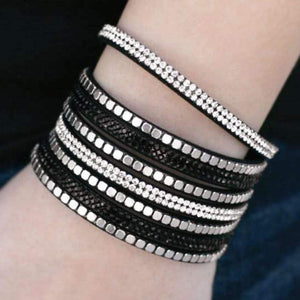 Wicked Wonders VIP Bling Bracelet Fight Night Black with Silver Wrap Bracelet Affordable Bling_Bling Fashion Paparazzi