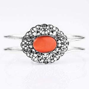 Wicked Wonders VIP Bling Bracelet Frill Seeker Orange Hinged Cuff Bracelet Affordable Bling_Bling Fashion Paparazzi