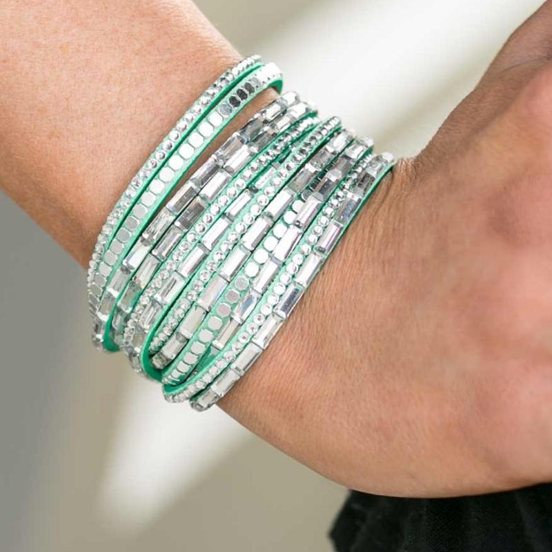 Wicked Wonders VIP Bling Bracelet Gimme Some Sugar Green Snap Wrap Bracelet Affordable Bling_Bling Fashion Paparazzi
