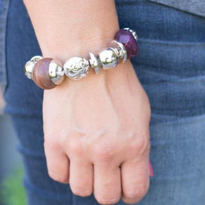 Wicked Wonders VIP Bling Bracelet Glass Half Full Purple Stretchy Bracelet Affordable Bling_Bling Fashion Paparazzi