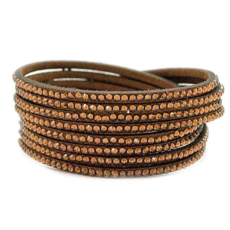 Wicked Wonders VIP Bling Bracelet Glows Me Away Brown Snap Wrap Bracelet Affordable Bling_Bling Fashion Paparazzi