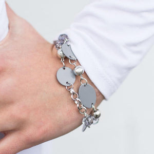 Wicked Wonders VIP Bling Bracelet Happy Travels Gray Bracelet Affordable Bling_Bling Fashion Paparazzi