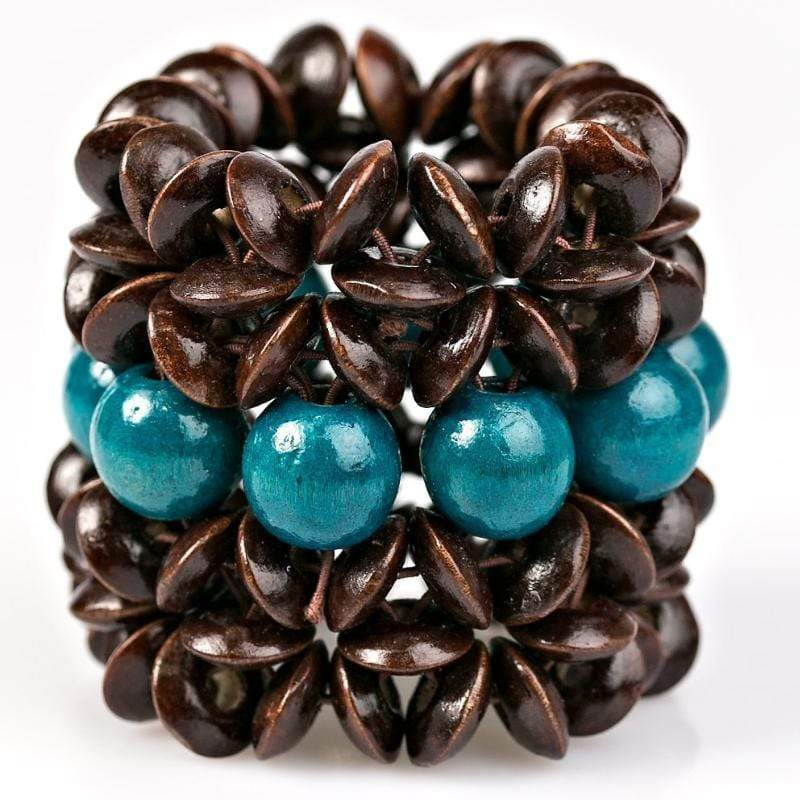 Wicked Wonders VIP Bling Bracelet Here Today, Gone To-MAUI Brown and Blue Stretchy Bracelet Affordable Bling_Bling Fashion Paparazzi