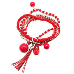 Wicked Wonders VIP Bling Bracelet Kings and Vagabonds Red Set of Stretchy Bracelets Affordable Bling_Bling Fashion Paparazzi