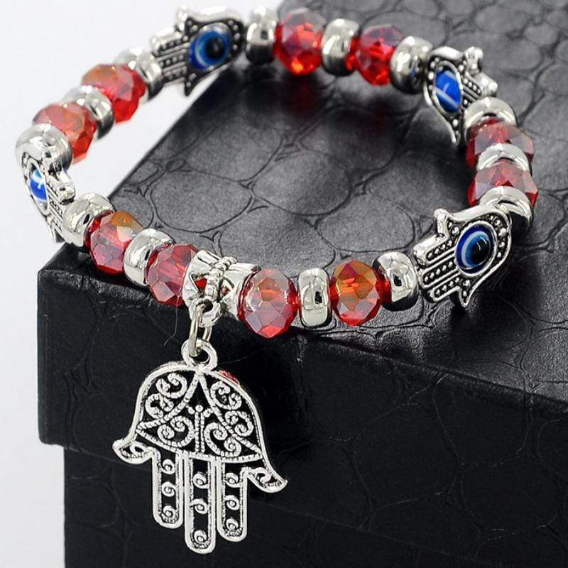 Wicked Wonders VIP Bling Bracelet Let No Trouble Come Hamsa Dainty Stretchy Bracelet Affordable Bling_Bling Fashion Paparazzi