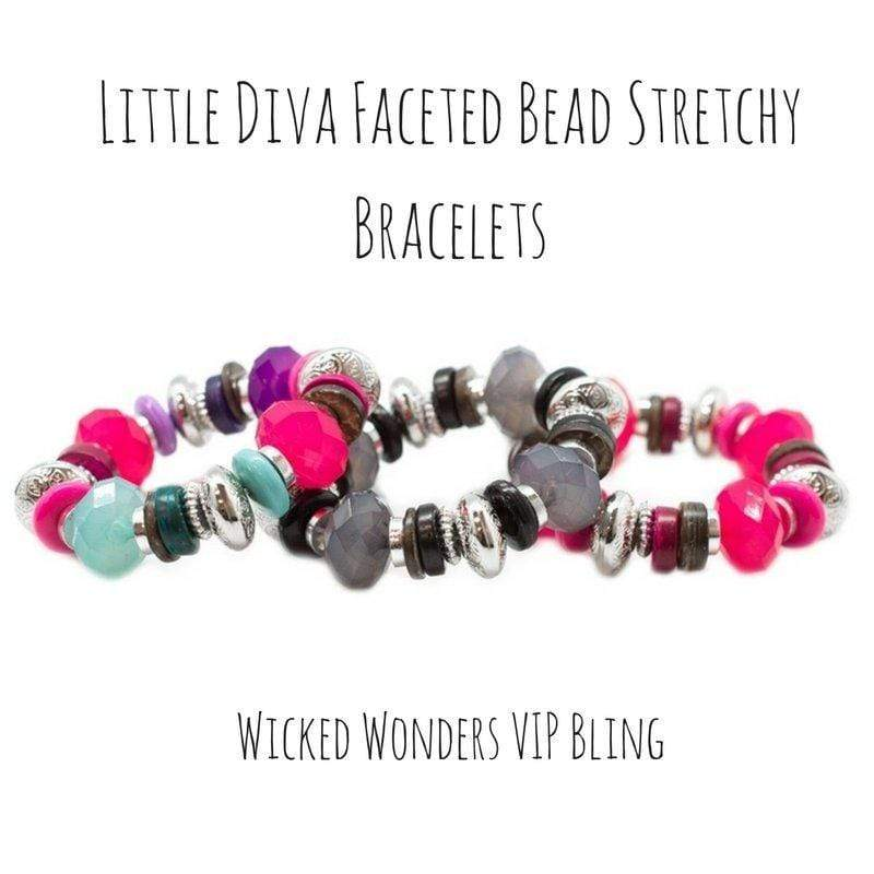 Wicked Wonders VIP Bling Bracelet Little Diva Faceted Bead Stretchy Bracelets Affordable Bling_Bling Fashion Paparazzi