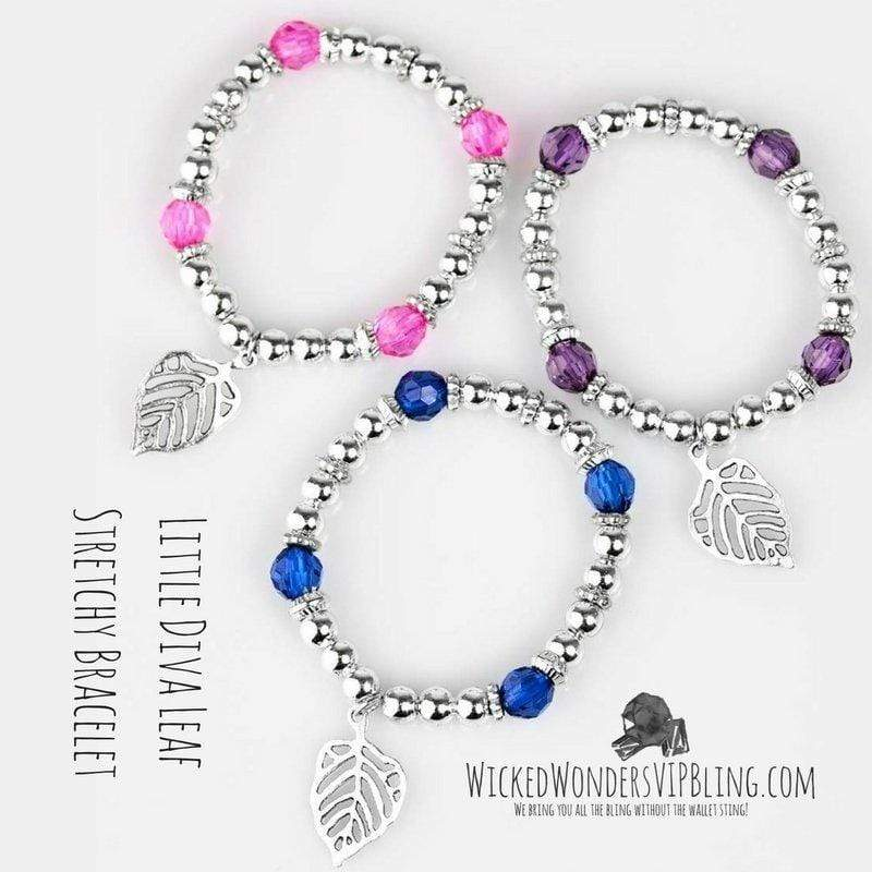 Wicked Wonders VIP Bling Bracelet Little Diva Leaf Stretchy Bracelet Affordable Bling_Bling Fashion Paparazzi