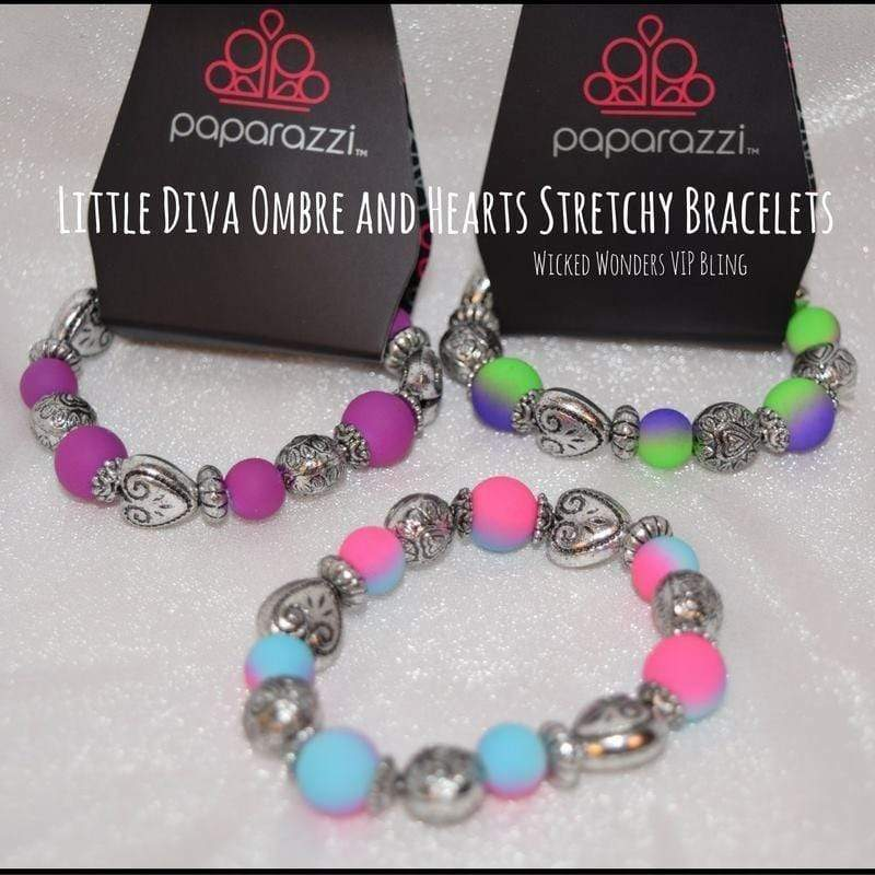 Wicked Wonders VIP Bling Bracelet Little Diva Ombre and Hearts Stretchy Bracelet Affordable Bling_Bling Fashion Paparazzi