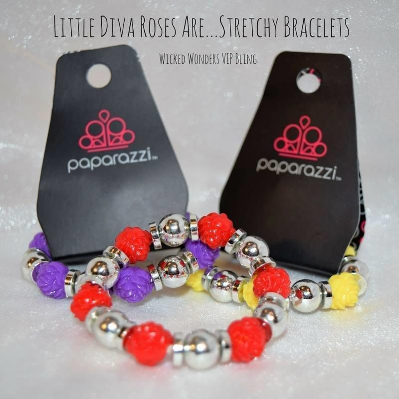 Wicked Wonders VIP Bling Bracelet Little Diva Roses Are...Stretchy Bracelets Affordable Bling_Bling Fashion Paparazzi