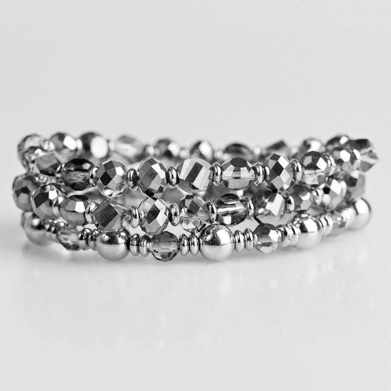 Wicked Wonders VIP Bling Bracelet Magnificently Metro Silver Set of Stretchy Bracelets Affordable Bling_Bling Fashion Paparazzi