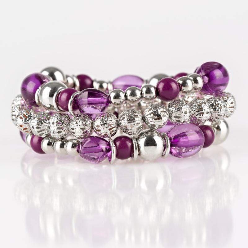Wicked Wonders VIP Bling Bracelet Malibu Marina Purple Set of Stretchy Bracelets Affordable Bling_Bling Fashion Paparazzi