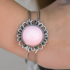 Wicked Wonders VIP Bling Bracelet Pie in the Sky Pink Hinged Cuff Bracelet Affordable Bling_Bling Fashion Paparazzi