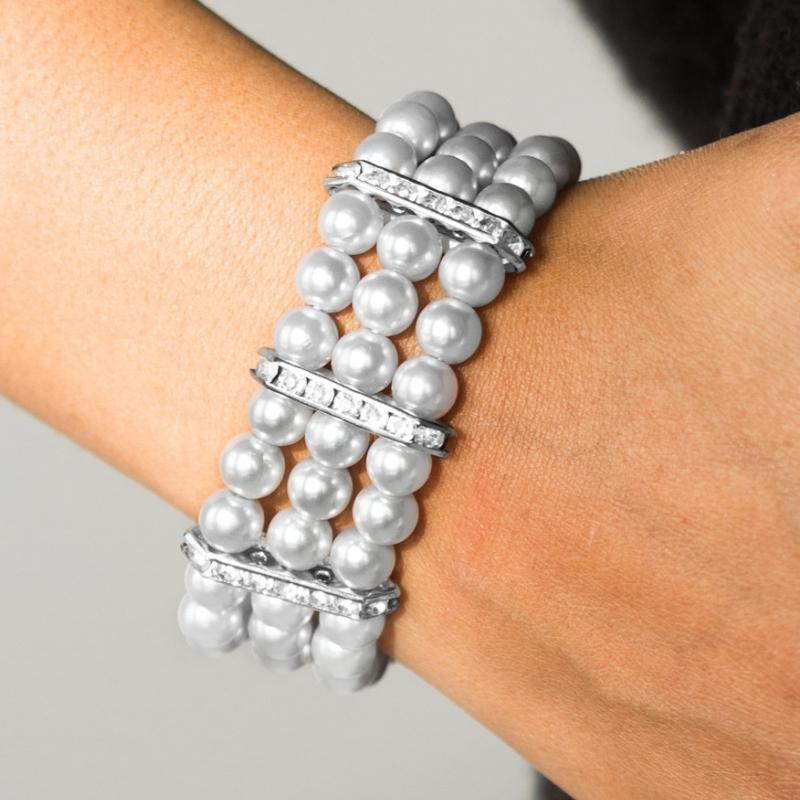 Wicked Wonders VIP Bling Bracelet Put on Your GLAM Face Silver Stretchy Bracelet Affordable Bling_Bling Fashion Paparazzi