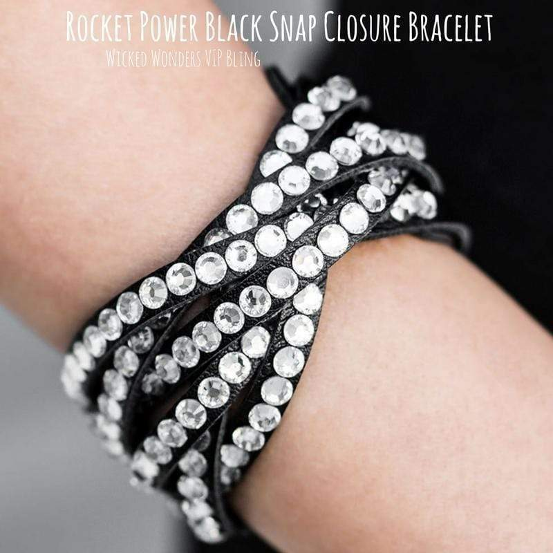 Wicked Wonders VIP Bling Bracelet Rocket Power Black Snap Closure Bracelet Affordable Bling_Bling Fashion Paparazzi