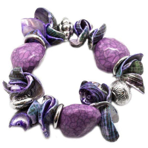 Wicked Wonders VIP Bling Bracelet Shelling It Out Purple Stretchy Bracelet Affordable Bling_Bling Fashion Paparazzi