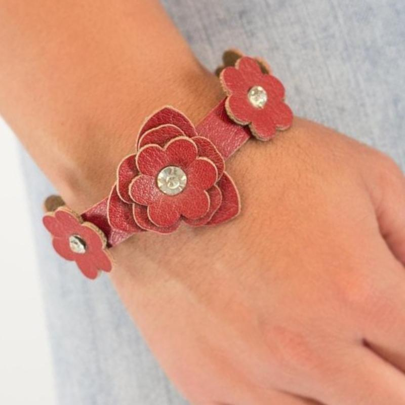 Wicked Wonders VIP Bling Bracelet Show Off Red Leather with White Rhinestone Snap Closure Bracelet Affordable Bling_Bling Fashion Paparazzi
