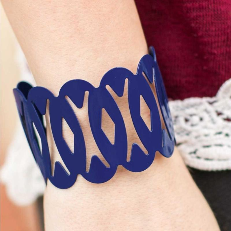 Wicked Wonders VIP Bling Bracelet Stepping Out of Line Blue Cuff Bracelet Affordable Bling_Bling Fashion Paparazzi
