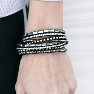 Wicked Wonders VIP Bling Bracelet Stick it to the Man Black Snap Wrap Bracelet Affordable Bling_Bling Fashion Paparazzi
