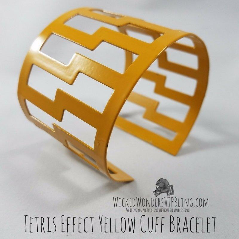 Wicked Wonders VIP Bling Bracelet Tetris Effect Yellow Cuff Bracelet Affordable Bling_Bling Fashion Paparazzi