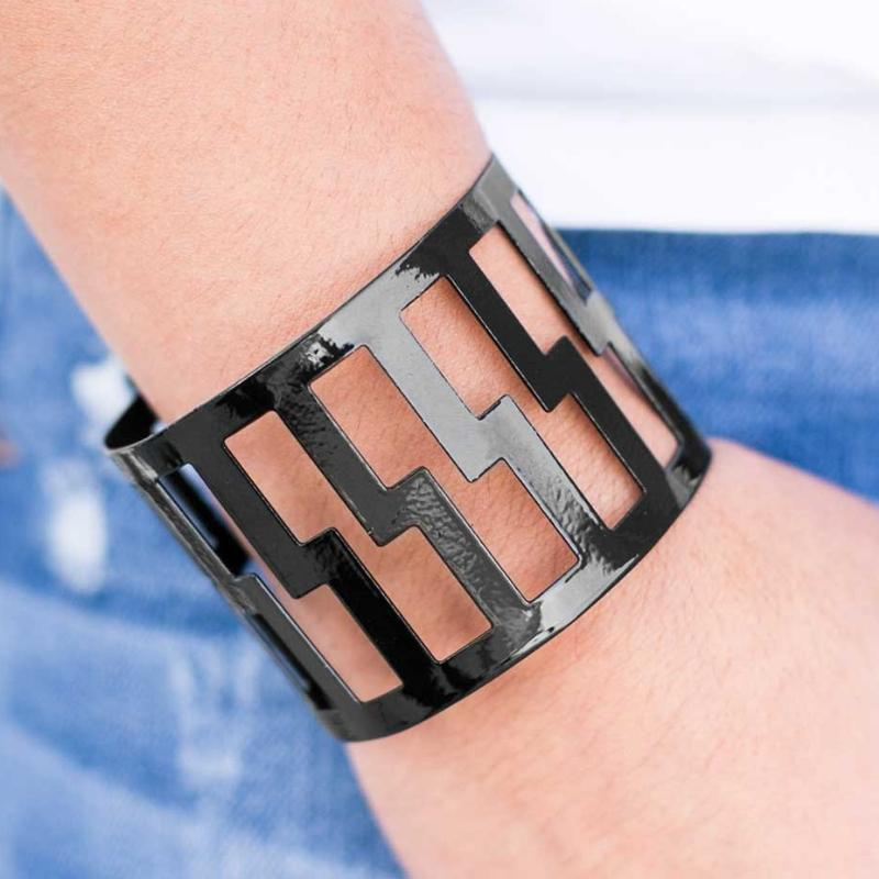 Wicked Wonders VIP Bling Bracelet The Tetris Effect Black Cuff Bracelet Affordable Bling_Bling Fashion Paparazzi