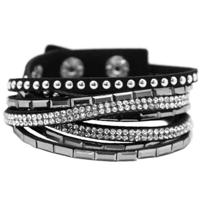 Wicked Wonders VIP Bling Bracelet Varsity Team Black Snap Wrap Bracelet Affordable Bling_Bling Fashion Paparazzi