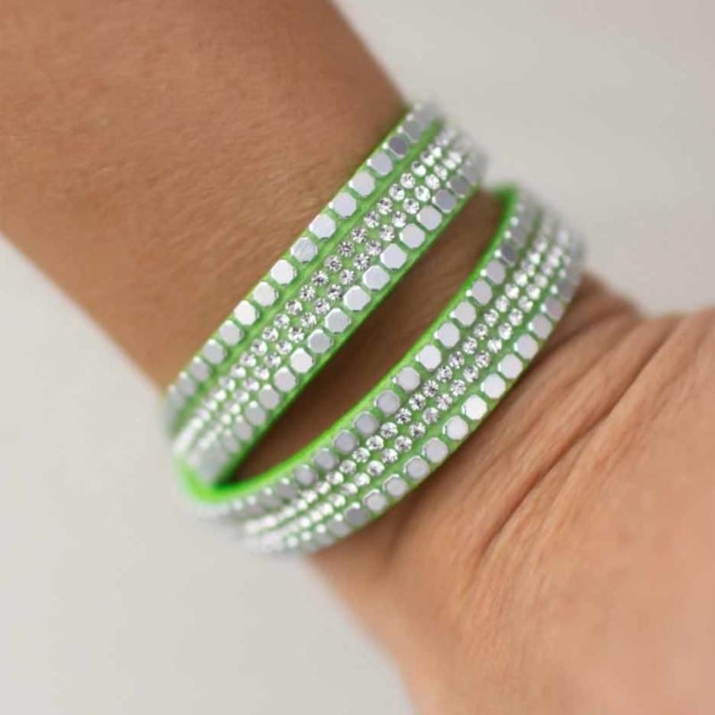 Wicked Wonders VIP Bling Bracelet What Your Mama Gave You Green Snap Wrap Bracelet Affordable Bling_Bling Fashion Paparazzi