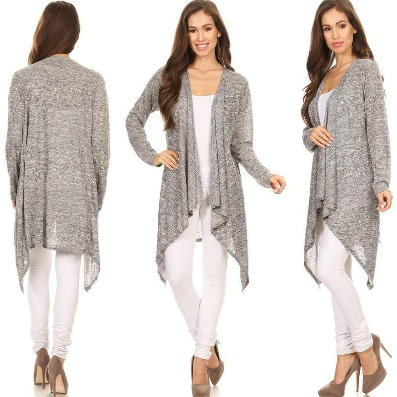 Wicked Wonders VIP Bling Cardigan Melange Knit Open Cardigan - Light Gray or Black Affordable Bling_Bling Fashion Paparazzi