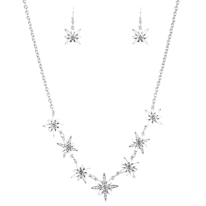 Wicked Wonders VIP Bling Decked Out In Daisies White Rhinestone and Silver Necklace Affordable Bling_Bling Fashion Paparazzi