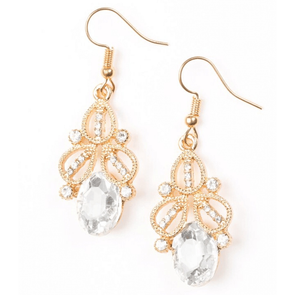 Wicked Wonders VIP Bling Earrings A Crown Pleaser White Gem and Gold Earrings Affordable Bling_Bling Fashion Paparazzi