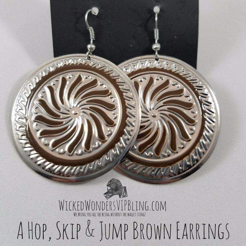 Wicked Wonders VIP Bling Earrings A Hop, Skip & Jump Brown Earrings Affordable Bling_Bling Fashion Paparazzi