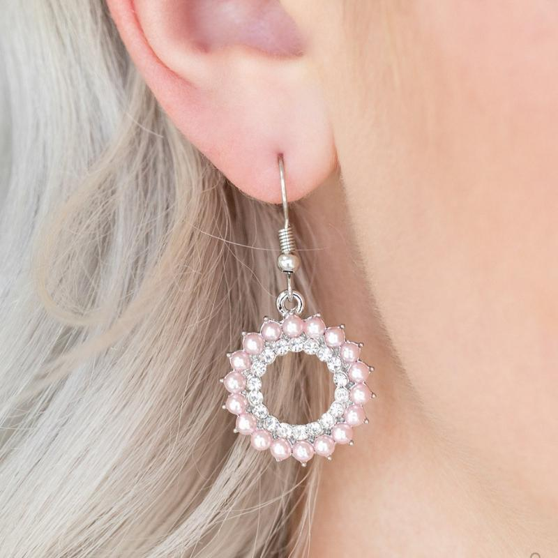 Wicked Wonders VIP Bling Earrings A Proper Lady Pink Pearly Earrings Affordable Bling_Bling Fashion Paparazzi