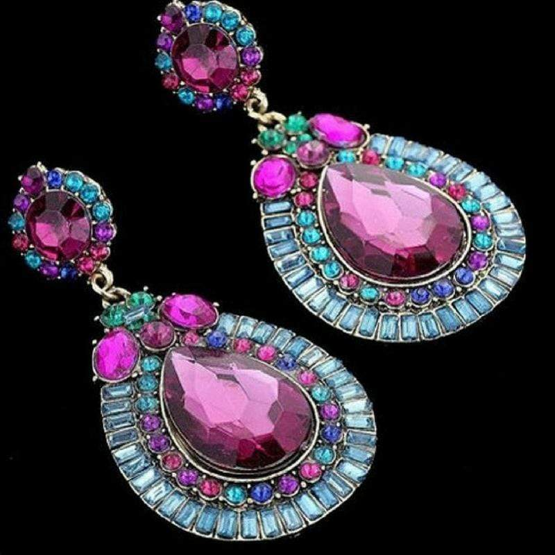 Wicked Wonders VIP Bling Earrings A Tear From Heaven Multi Gem Statement Earrings Affordable Bling_Bling Fashion Paparazzi